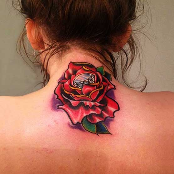 Diamond In The Red Rose Tattoo For Girls