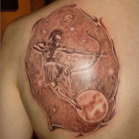 Different Sagittarius Zodiac Tattoos Behind Shoulder