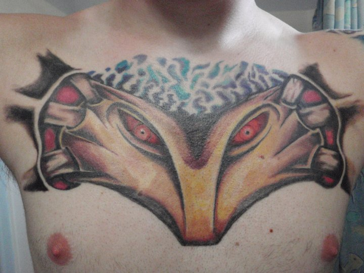Different Shadow Man Tattoo On Chest