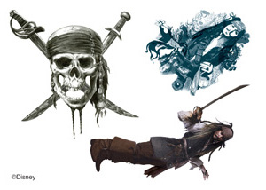 Disney Pirates Of The Caribbean Tattoos Sheet