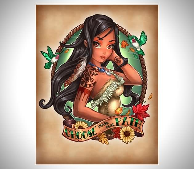 Disney Princesses As Tattooed Pinup Girl Tattoo Design
