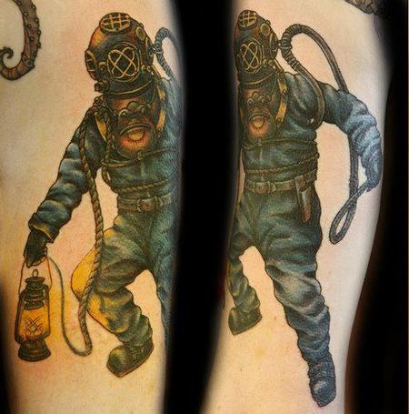 Diver With Light Lamp Tattoo