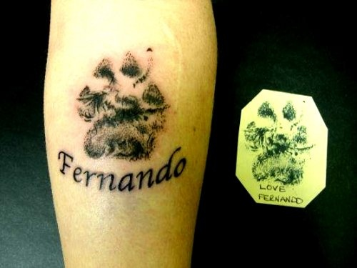 Dog Paw And Name Tattoos On Leg