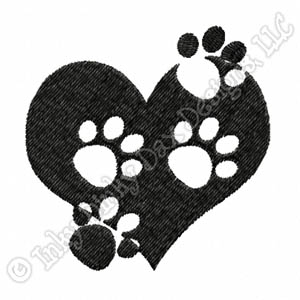 Dog Paw Print Heart Embroidered