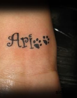Dog Paw Print Tattoos On Inner Wrist