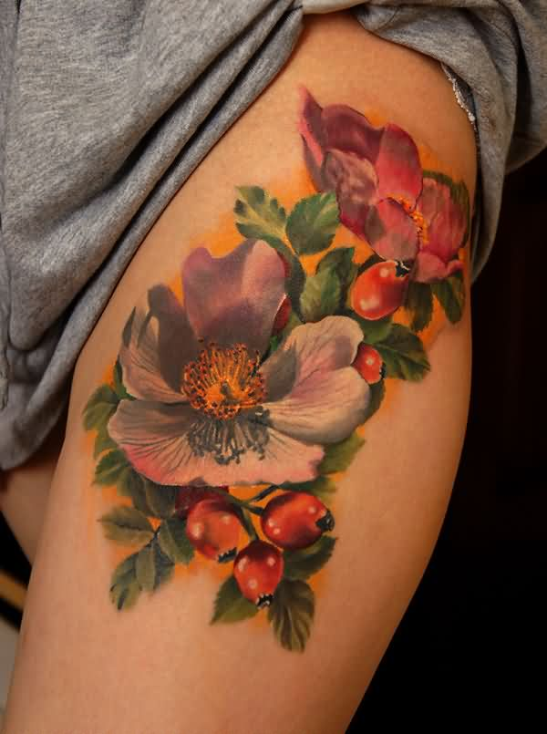 Dogwood Flower Tattoos On Upper Thigh