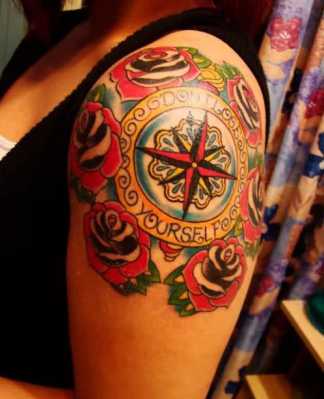 Don't Lose Yourself Nautical Tattoos On Shoulder