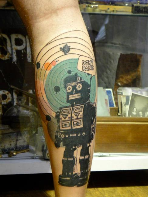 Don't Panic Robot Tattoo On Leg