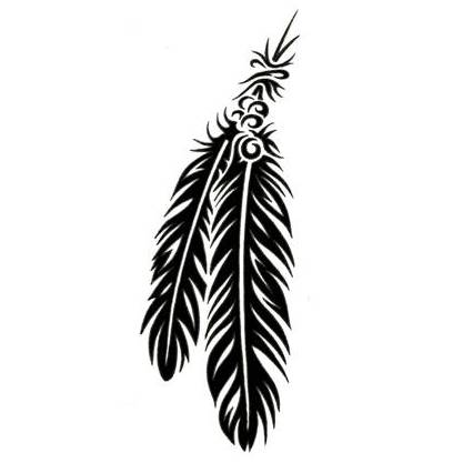 Double Native American Tribal Feather Tattoo Designs