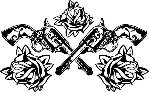 Double Pistols And Rose Tattoo Designs