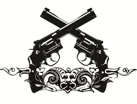 Double Pistols Tattoo Design