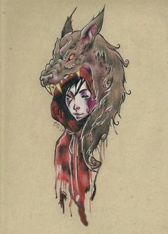 Dragon And Riding Hood Girl Tattoo Poster