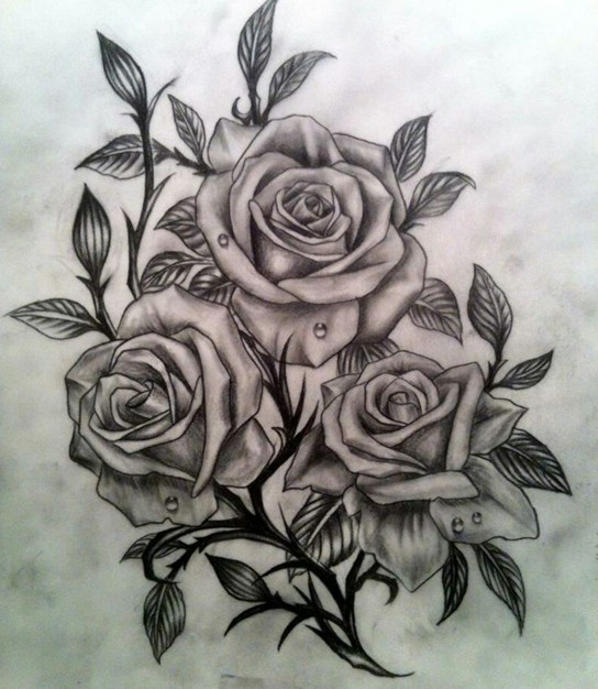 Drops On Grey Roses Tattoo Design