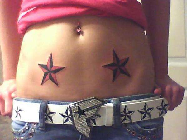Dual Nautical Star Tattoo Trend For Young Girls