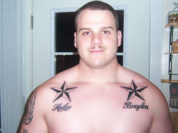 Dual Nautical Star With Name Tattoos On Collarbones