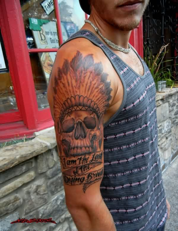 Dying Breed Native American Skull Tattoo For Guys
