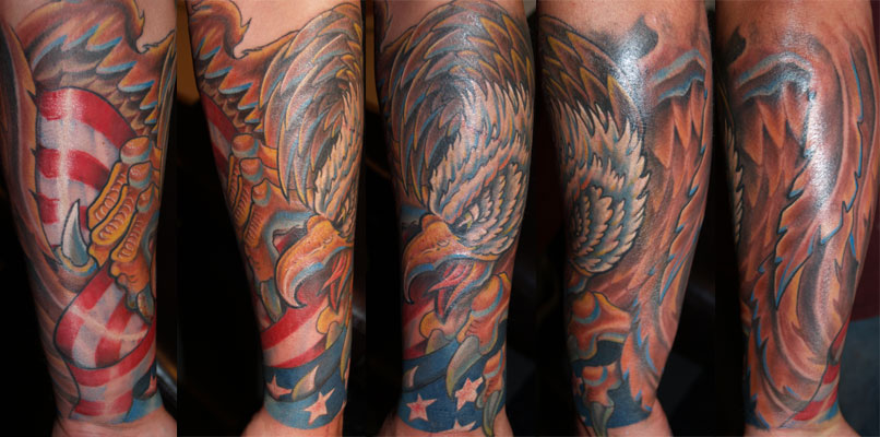 Eagle And Patriotic Flag Sleeve Tattoos