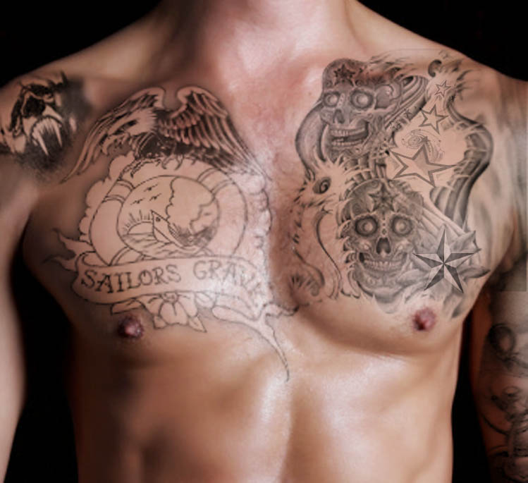 Eagle Nautical Star And Sugar Skull Tattoos On Chest