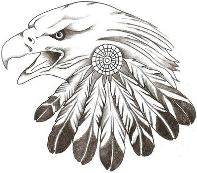 Eagle With Feather Tattoo Sketch