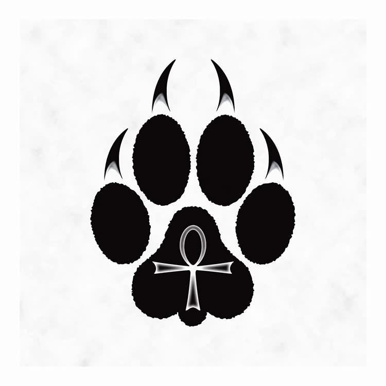 Egyptian Cross Wolf Paw Tribal Tattoo Design