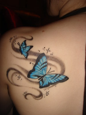 Elegant Butterfly With Swirls Tattoos Behind Shoulder