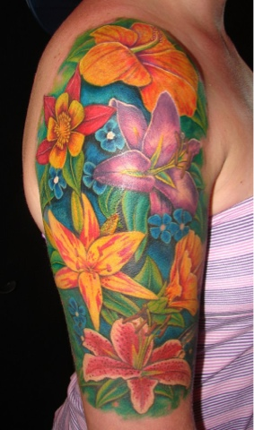 Elegant Flower Tattoos On Half Sleeve