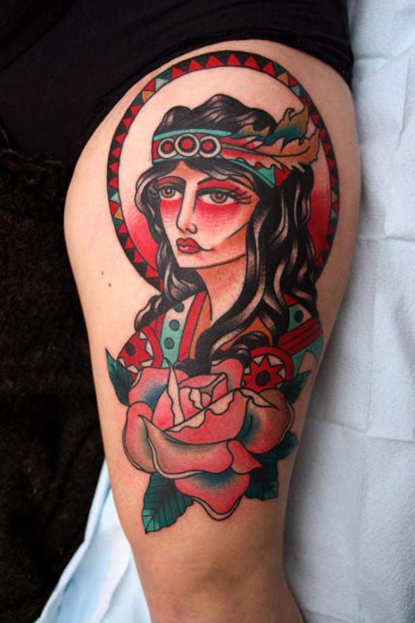Elegant Native American Girl And Red Rose Tattoos On Thigh