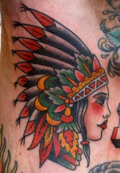 Elegant Native American Girl Head Tattoo