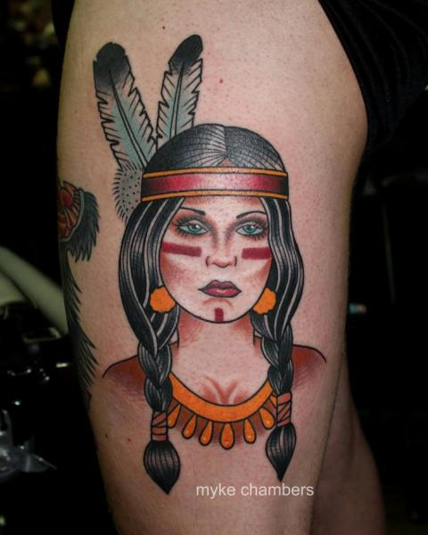 Elegant Native American Tattoo On Side Of Thigh