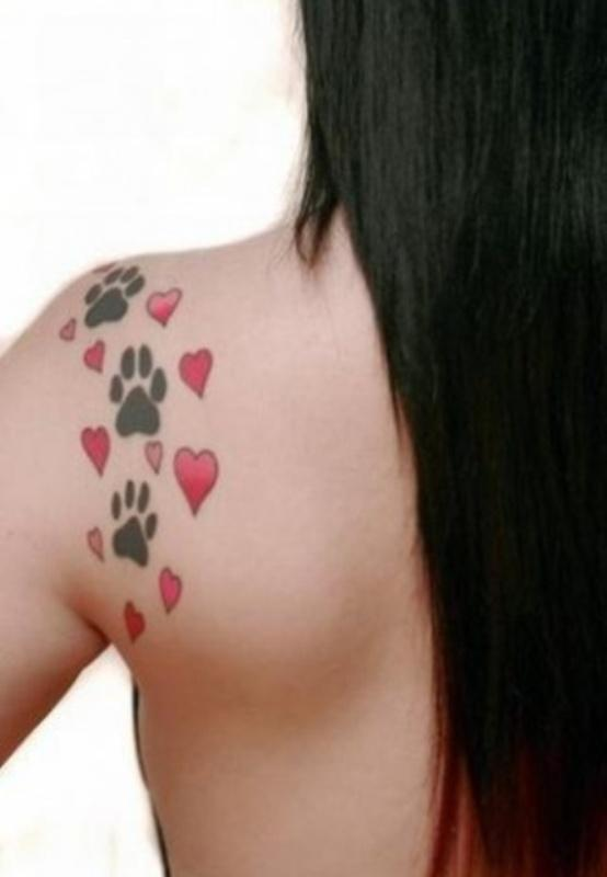 Elegant Red Heart And Paw Tattoos