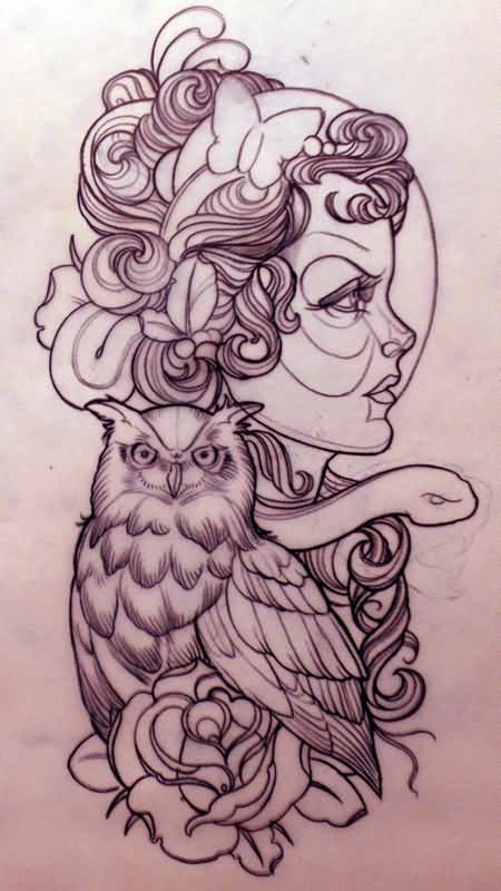 Emily Owl And Rose Tattoos Flash