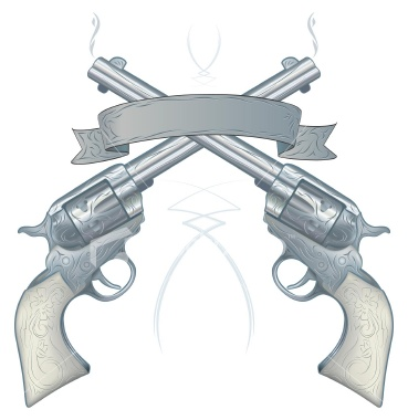 Empty Banner And Crossed Pistol Tattoo Designs