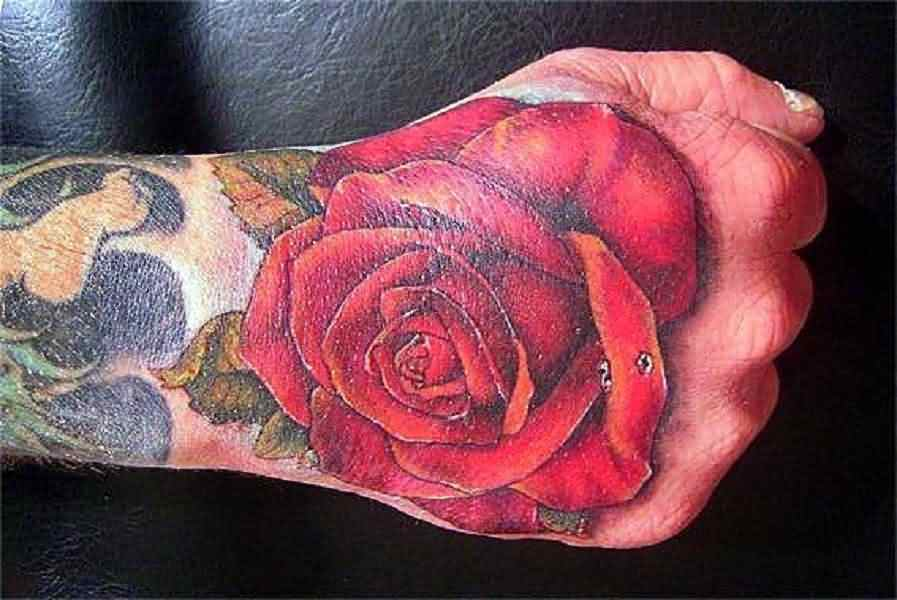 Enchanting Red Rose Tattoo On Hand