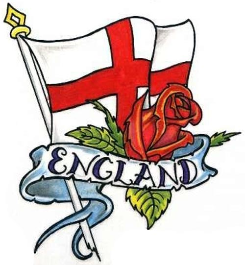 England Flag And Red Rose Tattoos