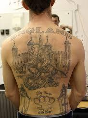 England Patriotic Tattoos On Whole Back