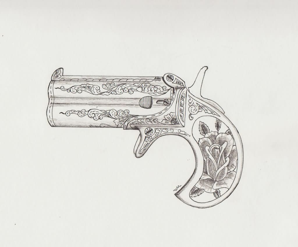 Engraved Derringer Pistol Tattoo Sketch