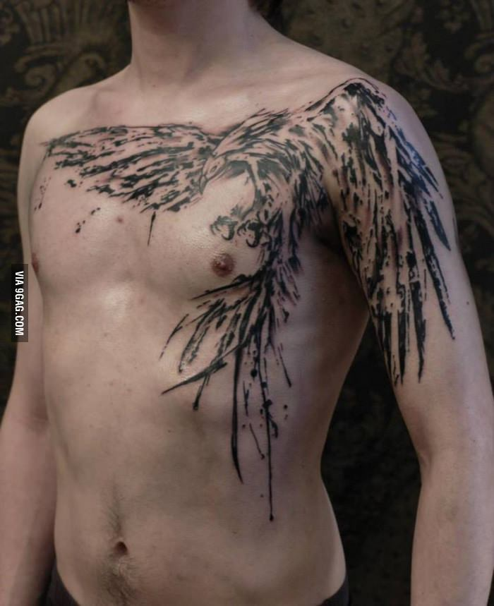 Epic Phoenix Tattoo On Chest