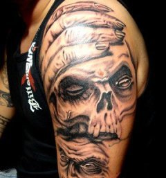 Evil Skull Tattoos On Arm