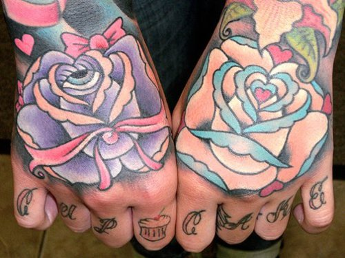 Eye And Bow Rose Tattoos On Hands
