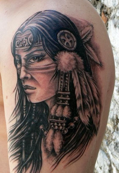 Fabulous Grey Native American Woman Portrait Tattoo On Arm