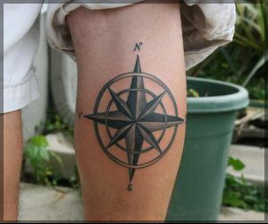 Fabulous Grey Nautical Compass Tattoo On Calf For Boys