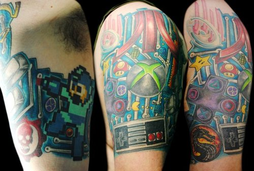 Fabulous Video Game Half Sleeve Tattoos