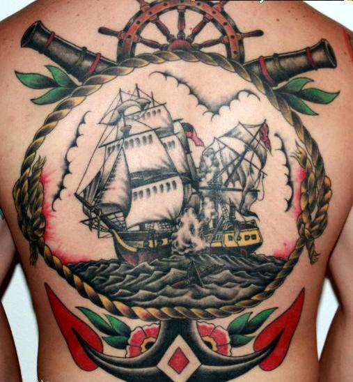 Fantastic Colorful Nautical Tattoos On Entire Back