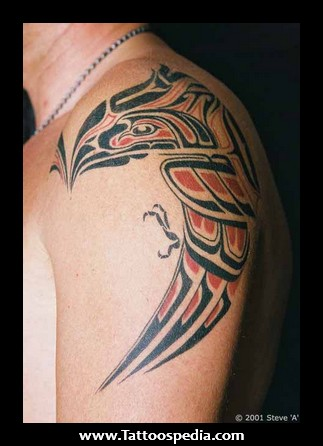 Fantastic Native American Red-Black Bird Tattoo