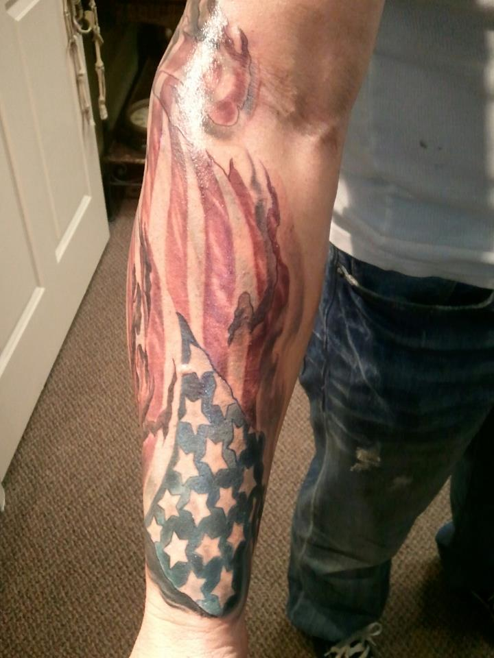 Fantastic Patriotic Flag Tattoo On Left Sleeve