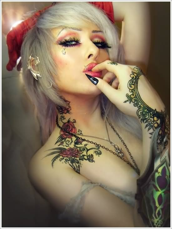 Fashion Girl With Red Rose Tattoos