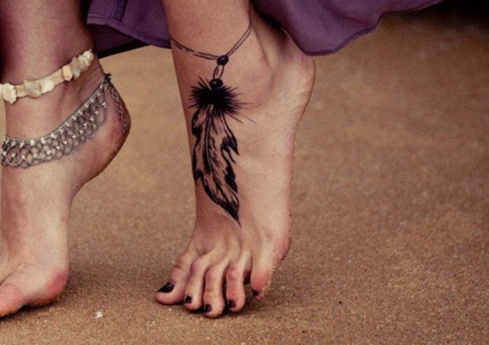 Feather Anklet Tattoo Trend