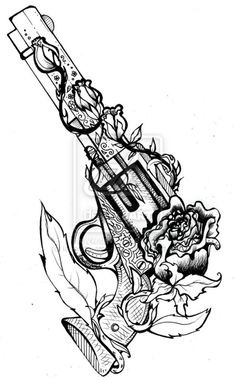Feathers Flower Vine With Pistol Tattoo Design