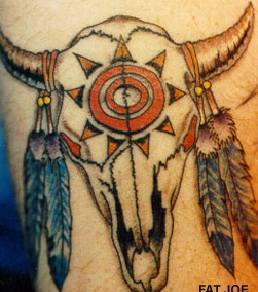 Feathers On Animal Horn Native American Tattoo