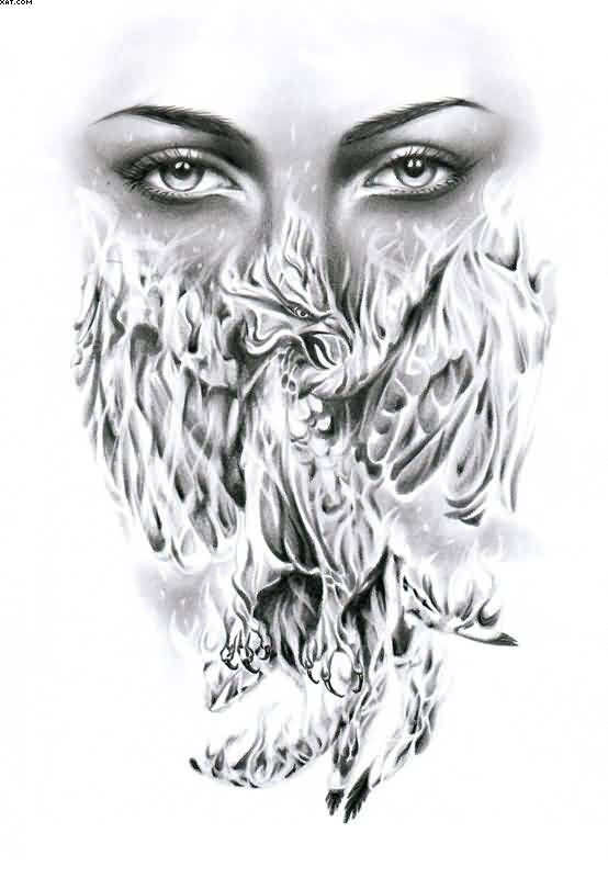 Female Eyes And Flaming Phoenix Tattoo Design